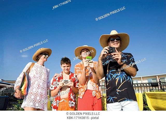 Family enjoying tropical vacation