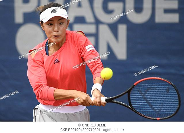 Tennis player Wang Qiang (China) is seen during match against Margarita Gasparyan (Russia) within the 1st round of the J&T Banka Prague Open, on April 30, 2019