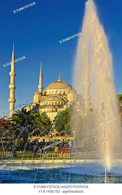 The Sultan Ahmed Mosque Sultanahmet Camii or Blue Mosque, Istanbul, Turkey  Built from 1609 to 1616 during the rule of Ahmed I