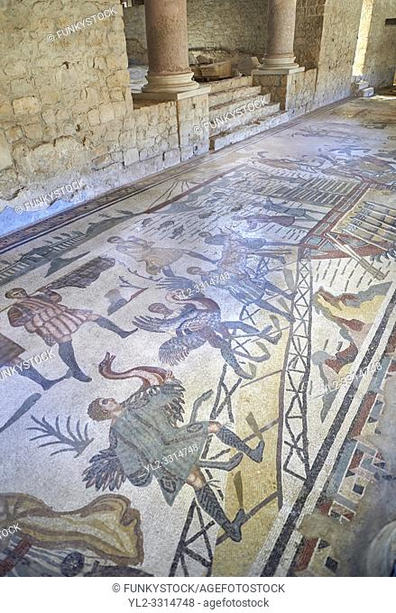 Wide picture of the Ambulatory corridor of the Great Hunt Roman mosaic and the entrance to the audience hall, room no 28, at the Villa Romana del Casale