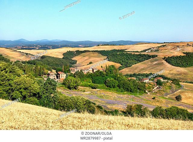The landscape of Tuscany at sunrise, Italy