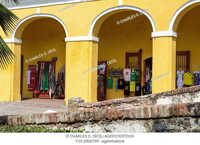 Cartagena, Colombia. Las Bovedas (The Dungeons), Shops Selling Handicrafts, Fabrics, and other Souvenirs for the Tourist Trade
