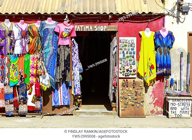 Tourist style shop selling clothes and fridge magnets, Santa Maria, Sal, Salinas, Cape Verde, Africa