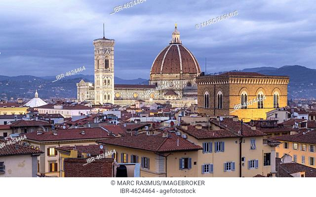 View over Florence with Cathedral Duomo Santa Maria del Fiore and church Orsanmichele at dusk, Florence, Tuscany, Italy
