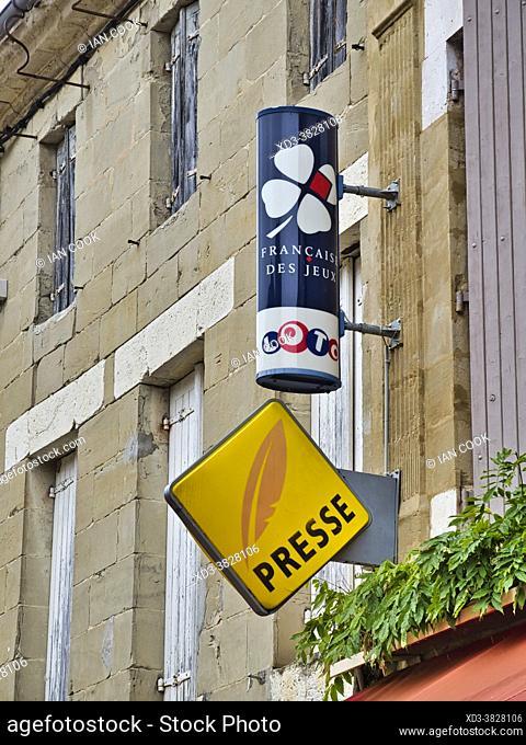 press and lottery signs, Lauzun, Lot-et-Garonne Department, Nouvelle Aquitaine, France
