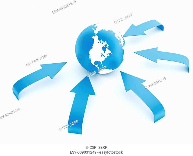 earth in an environment of blue arrows on a white background