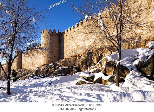 City wall, Ávila, snow-covered. Castile-Leon, Spain
