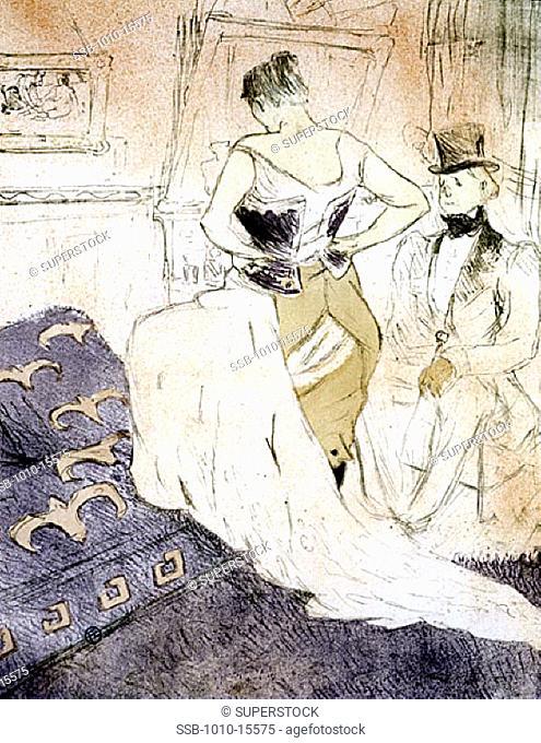 Elles: Femme en Corset Conquete de Passage Henri de Toulouse-Lautrec (1864-1901 French)