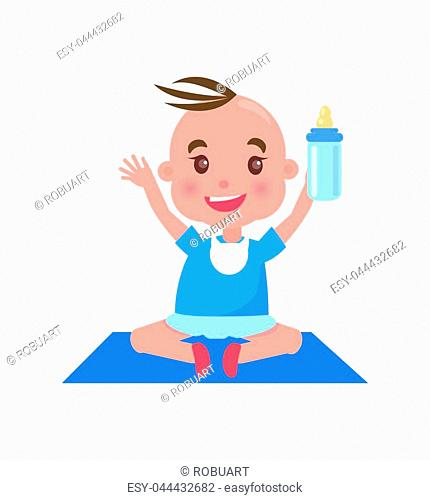 Child sitting with bottle on mat of blue color, container full of food and meal, milk and liquid, vector illustration isolated on white background
