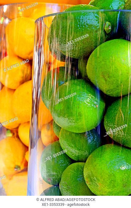 limes and lemons, Gastronomic Festival 'Taste the Rambla', 6th Week of Gastronomy in Barcelona, Catalonia, Spain