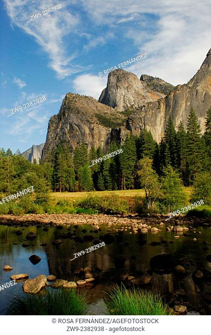 Merced River and granite mountains with characteristic relief, Yosemite National Park, California, United States of America