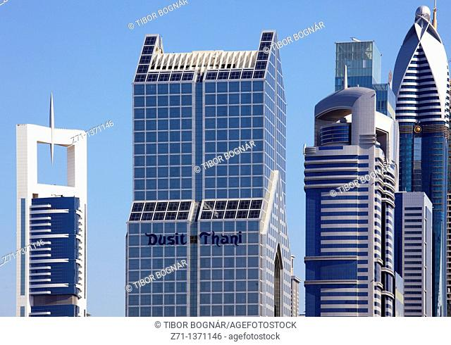 United Arab Emirates, Dubai, Dusit Thani Hotel, skyscrapers