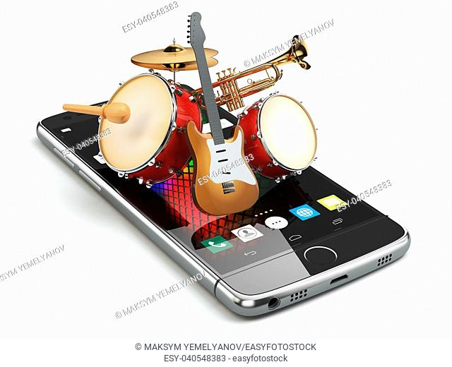Mobile phone and musical instruments. Guitar, drums and trumpet. Digital music composer app. 3d illustration