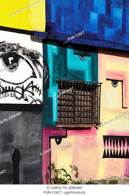 Cuban artwork painted on wall at Havana, Cuba, West Indies, Caribbean, Central America