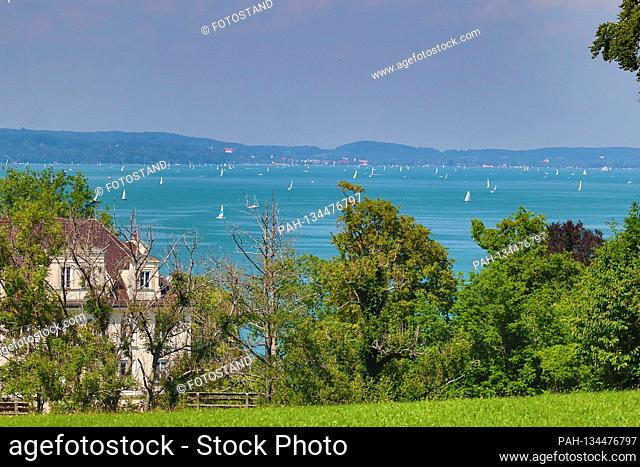 District Starnberg, Germany August 1st, 2020: Impressions Starnberger See - 2020 Bernried, view from Binselberg to Kloster Bernried and Starnberger See