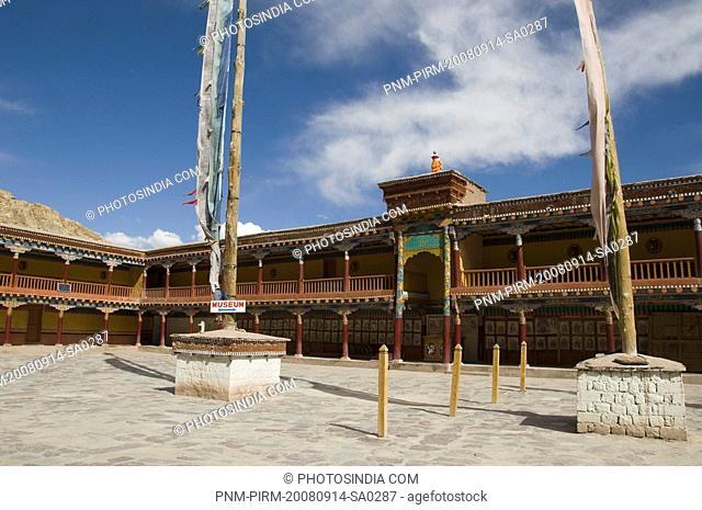 Prayer flags in front of a monastery, Hemis Monastery, Hemis, Ladakh, Jammu and Kashmir, India
