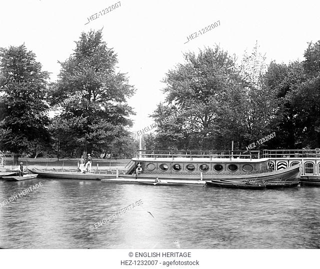 Oriel College barge, Oxford, Oxfordshire. Many Oxford colleges owned their own river barges, c1860-c1922