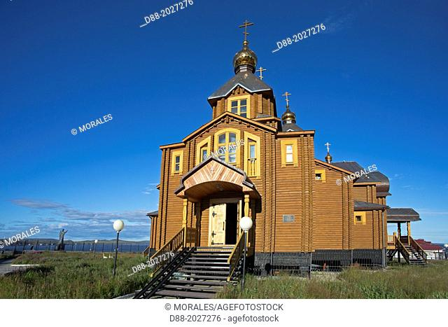 Russia , Chukotka autonomous district , Anadyr , headtown of the district , Holy Trinity Cathedral , the largest wooden church in Russia , build in 2005