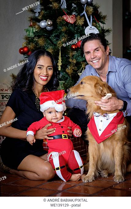 Multi-ethnic family of hispanic mother and caucasian father with mixed race baby boy and Golden Retriever dog gathered in front of the Christmas tree in their...