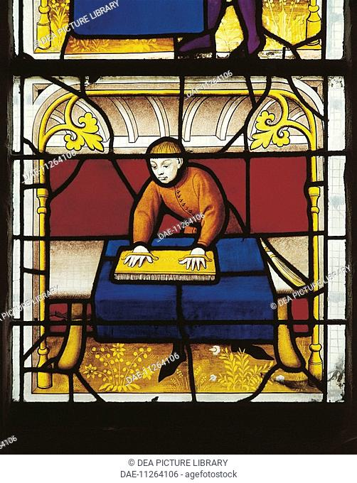 France - Burgundy - Semur-en-Auxois. Church of Notre-Dame. Stained-glass window, 15th century. Weaver