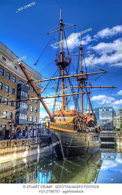 HDR image of the replica of the Golden Hind docked in St Mary Overie Dock, London