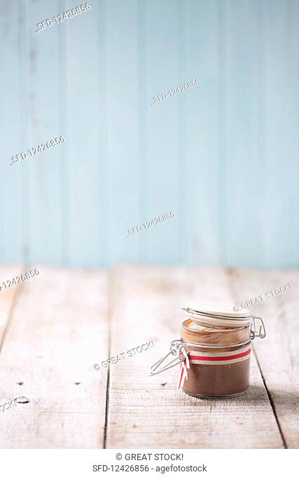 Vegan chocolate sauce in a jar