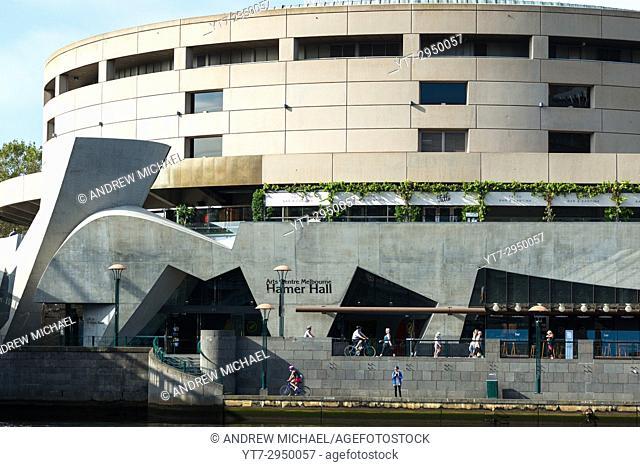 Hamer Hall Southbank Arts and Leisure Precinct on River Yarra Melbourne Australia