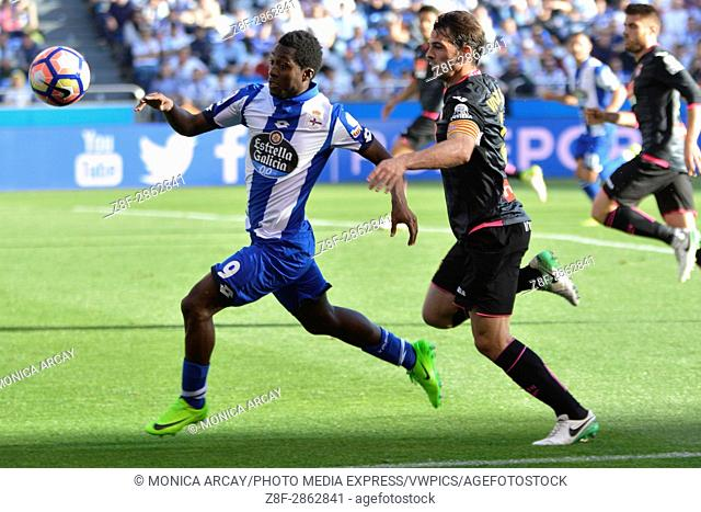 La Coruna, May 7, 2017 - Marlos Moreno and Victor S. Espanyol de Barcelona defeated 1-2 Deportivo La Coruna with goals scored by Leo Baptistao (14th minute) and...