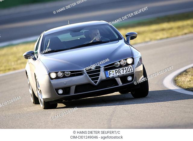 Alfa Romeo Brera 3.2 JTS V6, model year 2006-, anthracite, driving, diagonal from the front, frontal view, Test track