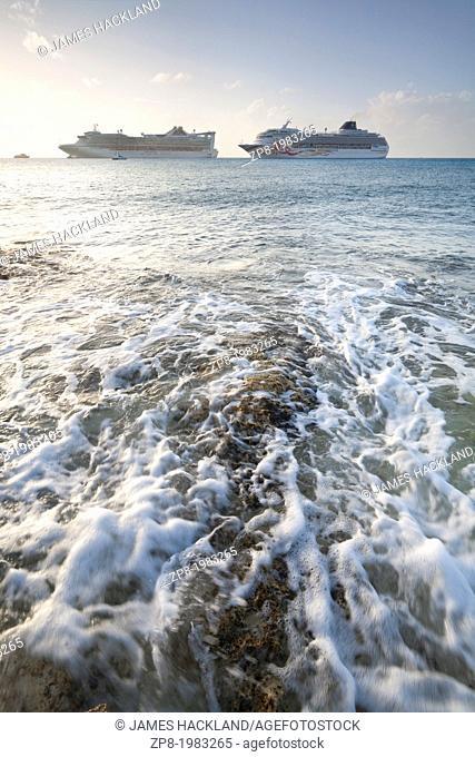 Cruise ships off the coast of Cozumel, Mexico