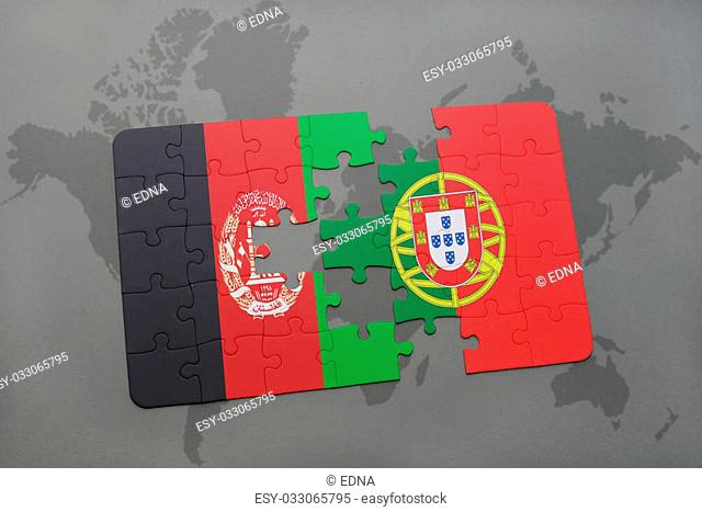 puzzle with the national flag of afghanistan and portugal on a world map background. 3D illustration