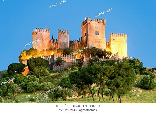 Castle at dusk, Almodovar del Rio, Cordoba province, Region of Andalusia, Spain, Europe