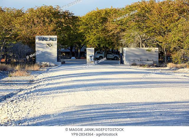 Entrance gate to Halali camp, Etosha National Park, Namibia, Africa