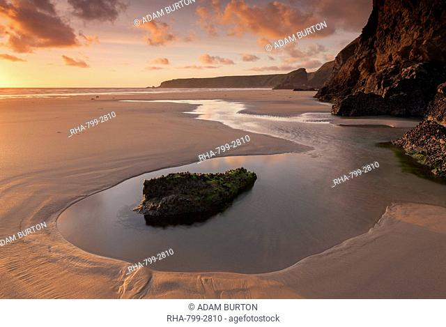 Tidal pools on Bedruthan Steps beach at sunset, Cornwall, England, United Kingdom, Europe