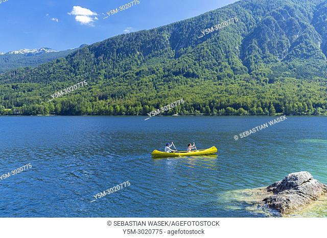 Kayak on Lake Bohinj, Triglav National Park, Ribcev Laz, Upper Carniola, Slovenia, Europe