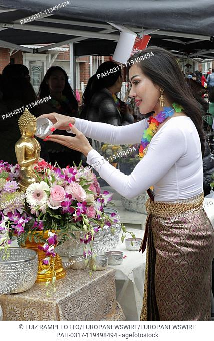 Woodside Avenue, New York, USA, April 20, 2019 - Hundreds of members of the Thai community of New York celebrated Songkran