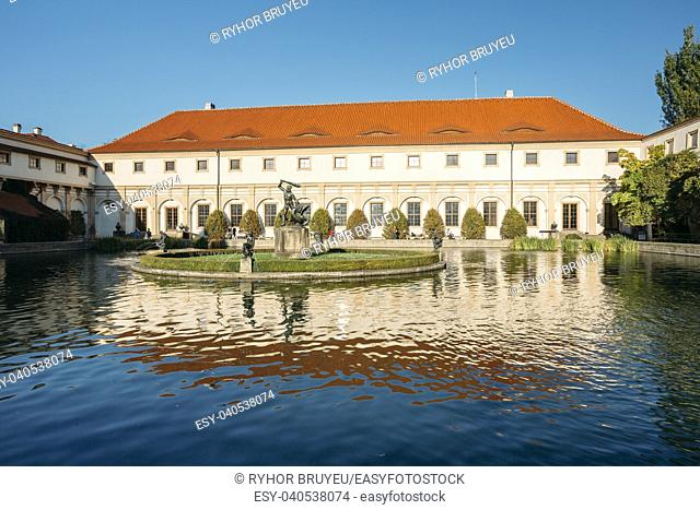 Prague, Czech Republic - October 9, 2014: Wallenstein Palace And Garden In Prague, Czech Republic. Pond