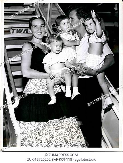 Feb. 02, 1972 - TV and Recording star Pat Boone and his wife Shirley proudly exhibit their family, Deborah Ann, 1; Linda Lee, 2, and Cheryl Lynn, 3