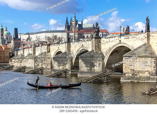Panorama Prague with Vltava River, Charles Bridge and Prague Castle