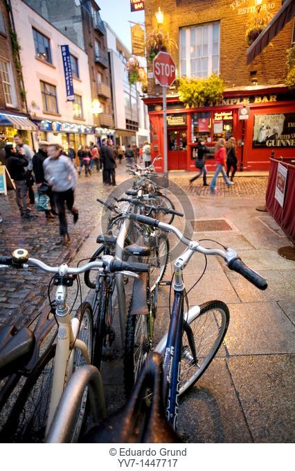 The bicycles are very used by the Dubliners  Temple Bar at the end  Dublin, Leinster, Ireland, Europe