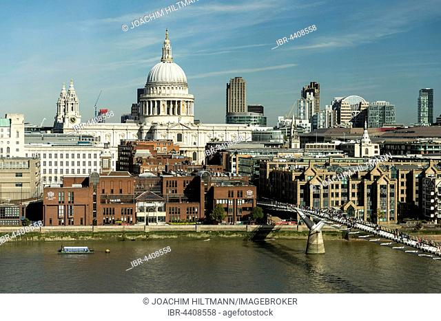 London skyline with St Paul's Cathedral and Millennium Bridge over the River Thames, London, England, United Kingdom