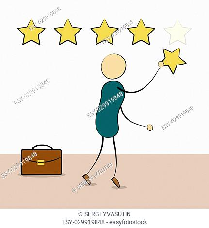 Vector cartoon businessman with rating stars. Pointing fifth star. Customer reviews, rating, user feedback concept. Doodle style