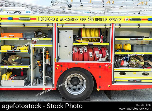 Hereford and Worcester fire brigade, Fire engine storeage compartments filled with appropriate apparatus for emergencies, Herefordshire UK. July 2019