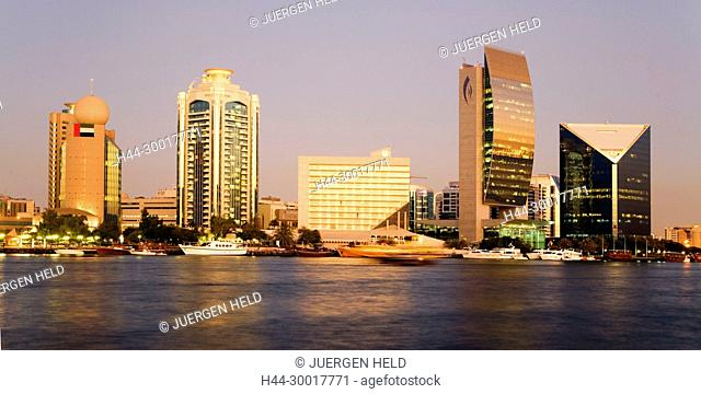 United Arab Emirates, Dubai, Dubai Deira, Creek, Asia, Promenade Skyline, modern architecture, Dubai national bank, sunset