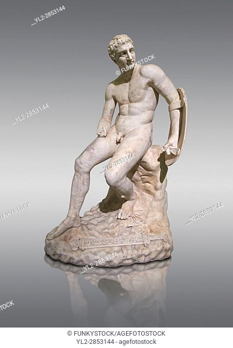 1st century AD Roman marble sculpture of a seated male, copied from a Hellanistic Greek original, inv 6323, Farnese Collection, Museum of Archaeology, Italy