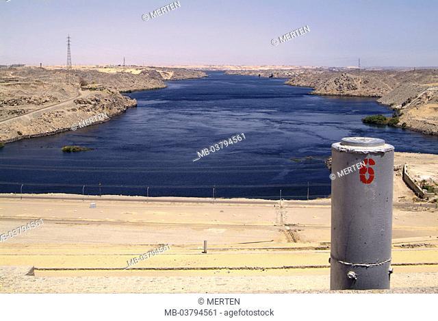 Egypt, Assuan-Hochdamm, river Nile   Africa, head Egypt, Assuan, sight, high dam, dam, barrage, Assuanhochdamm, built 1960-1970, construction, Sadd al-Ali