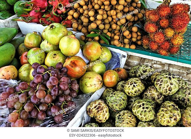 Tropical fruit on stall at a market, Hue, Vietnam, Southeast Asia