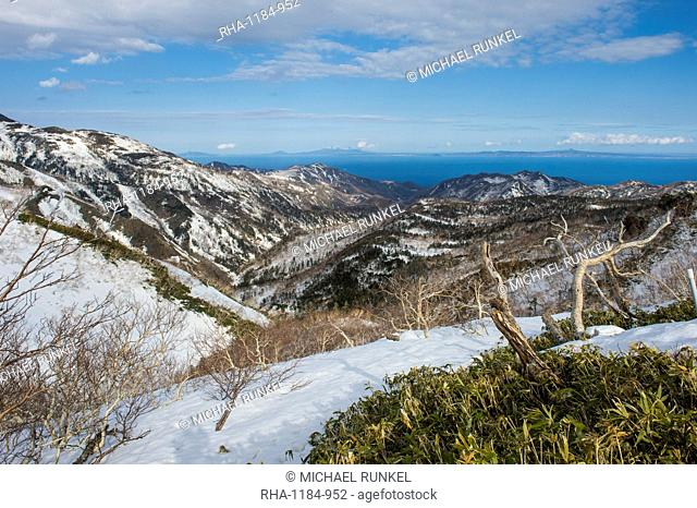 Snowcapped mountains in Shiretoko National Park, UNESCO World Heritage Site, Hokkaido, Japan, Asia