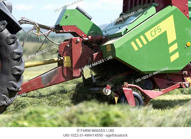 Making silage crop in the Yorkshire Dales with a Strautmann Forage Wagon being pulled by a Fendt tractor