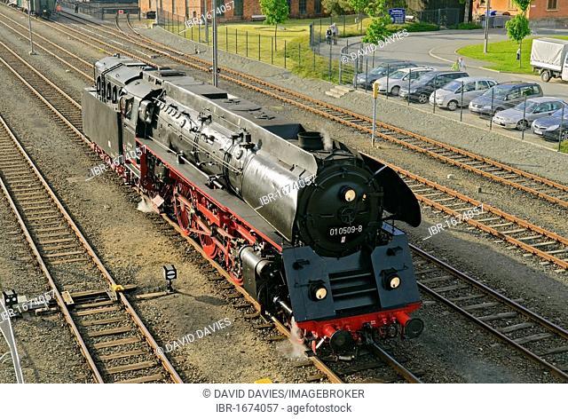 Class 01 steam locomotive at the German steam locomotive museum, Neuenmarkt, Franconia, Bavaria, Germany, Europe